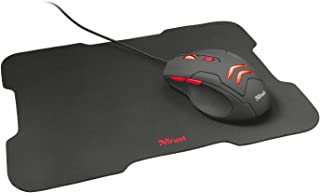 Trust Gaming Ziva - Kit Mouse gaming y Mousepad, Color Negro