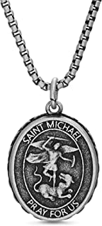 Oxidized Stainless Steel Saint Michael Coin Necklace for...