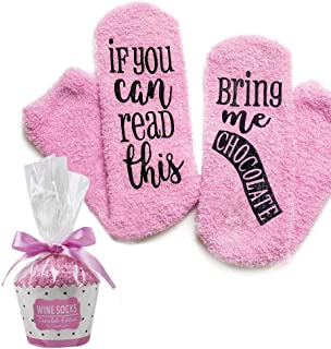 """DreamBundle's Novelty Socks + Gift Package""""If You Can Read This, Bring Me Chocolate, Coffee or Wine"""""""
