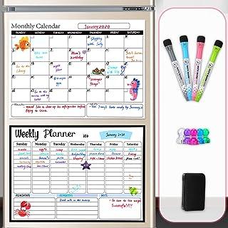 $28 » Dry Erase Calendar Whiteboard Magnetic Calendar Refrigerator Monthly and Weekly Fridge Calendar Included - Bonus 5 Color P...