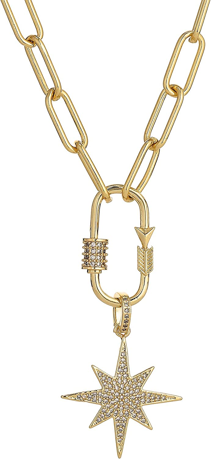 Dainty Gold Punk Paperclip Chain Necklace North Star Pendant Long Necklace for Women