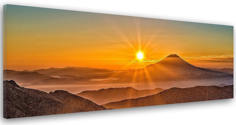 Feeby. Leinwandbild, Bilder, Wand Bild, Wandbilder, Kunstdruck 150x50 cm, BERG, SONNENUNTERGANG, NATUR, BRAUN