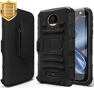 Moto Z Play Case with Tempered Glass Screen Protector, NageBee Belt Clip Holster Built-in Kickstand Heavy Duty Shockproof Combo Rugged Armor Durable Case for Motorola Moto Z Play Droid (2016) -Black