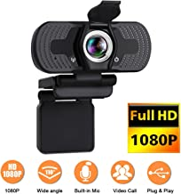 Webcam,Webcam with Microphone, 1080P HD 110-Degree View Angle Webcam with Privacy Cover, USB PC Webcam for Video Calling Recording Conferencing