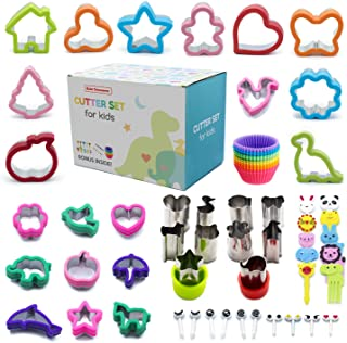 Sandwich Cutter Set for Kids: 20 Sandwich Cutters, 10 Vegetable, Fruit & Cookie Cutters, 20 Food Picks with Animals and Eyes Shapes. Perfect for Bento Lunch and Parties with Family and Friends