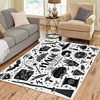 Pinbeam Area Rug Witch Magic Doodle Sketch Magician Witchcraft Symbols Wizard Home Decor Floor Rug 3' x 5' Carpet