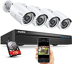Expandable 5MP 8CH True POE Security Camera System 4x2MP Surveillance Indoor Outdoor Cameras,Built-in Microphone,100FT Night Vision for 7/24 Recording,H.264+ to Save Storage,1 TB Hard Drive Included