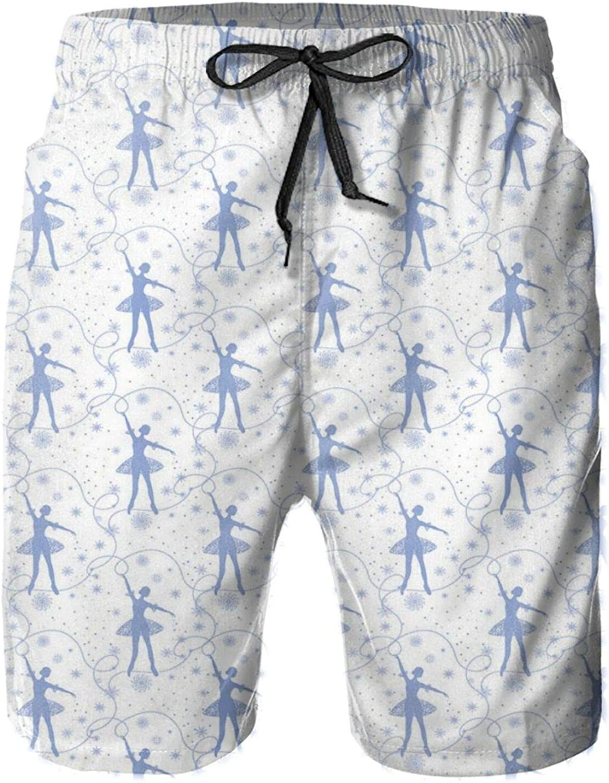 Tender Dancer Snowflakes and Polka Dots Magical Monochromatic Ornament Print Mens Swim Trucks Shorts with Mesh Lining,M
