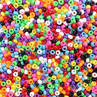 Opaque Multicolor Small Mini Plastic Pony Beads for Crafts, 4 x 7mm, 3000 Beads Bulk Pack