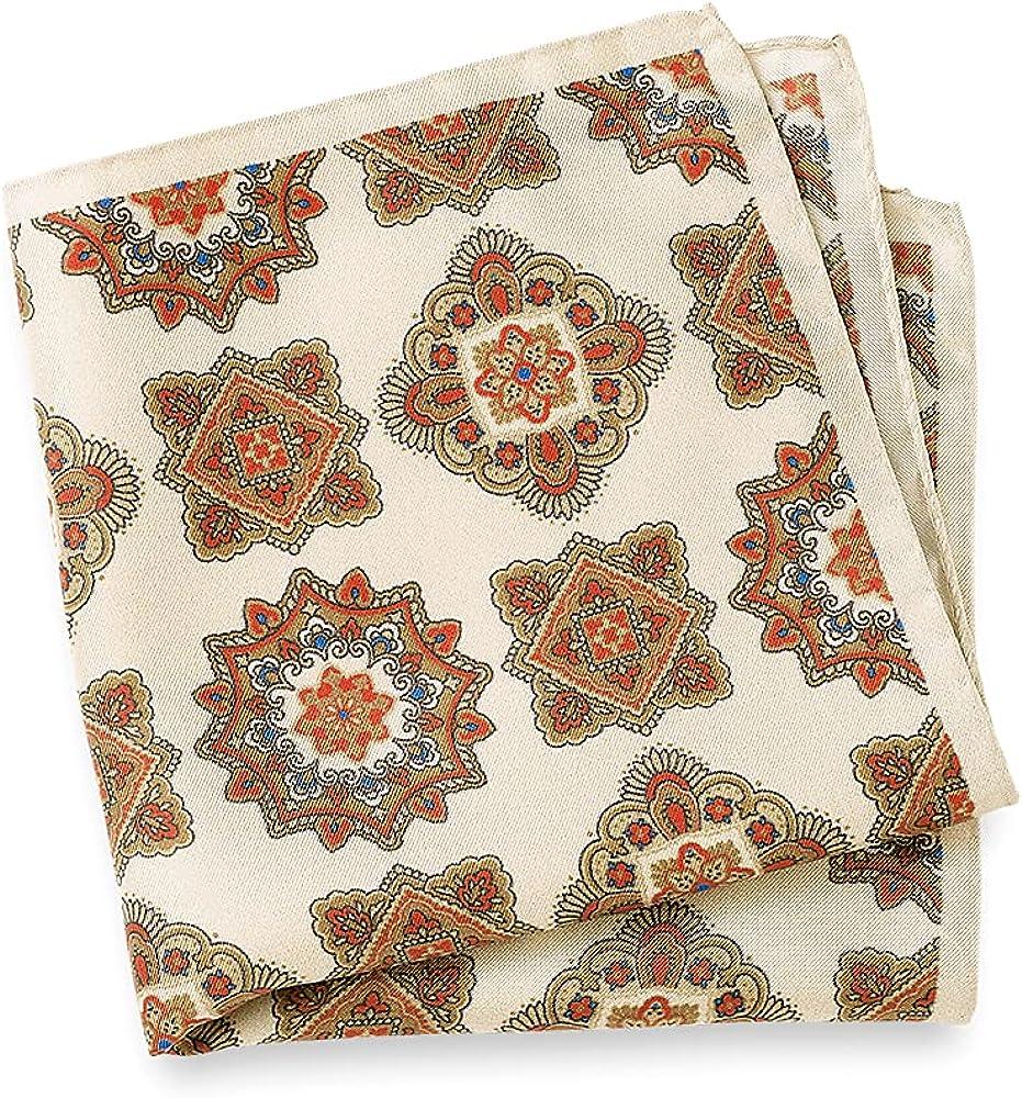 Paul Fredrick Men's Printed Silk Deco Pocket Square