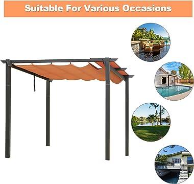 10' x 10' Outdoor Pergola-(2021 New) Aluminum Outdoor Retractable Sunshade Canopy Pergola for Party BBQ Yard Beach Garden Pat