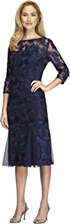 Alex Evenings Women's Midi Length Embroidered Party Dress