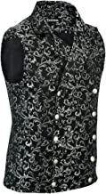 Stylish Mens Damask Tapestry Double-Breasted Vest Waistcoat Gothic Aristocrat Steampunk Victorian Vest