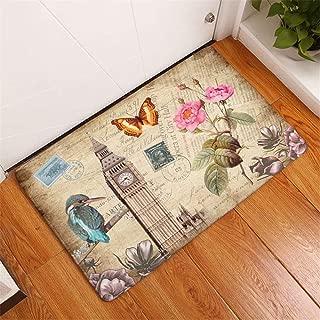 Flower Butterfly UK Big Ben Indoor and Outdoor Doormat, Easy to Clean, Low Carpet Mat