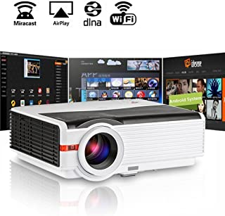 Video Projector WiFi HDMI, EUG HD Wireless LCD Projector 4200 Lumens, LED Android HDMI USB VGA AV Multimedia Home Cinema P...