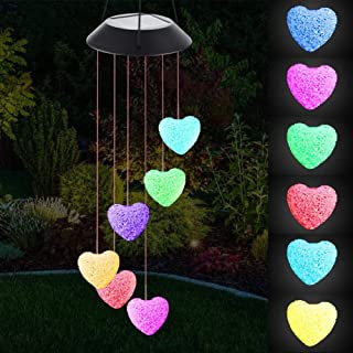 BINWO Solar Wind Chimes, Wind Chime Solar Lights, Love Heart Wind Chimes Led, Crystal Ball Indoor Outdoor Decor, Solar Light Mobile for Garden Yard Home, Gifts for Mom, Wife, Grandma (Love)