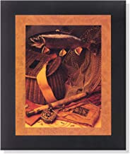 Old Fishing Fly Rod and Fish Memorabilia Wall Picture Framed Art Print