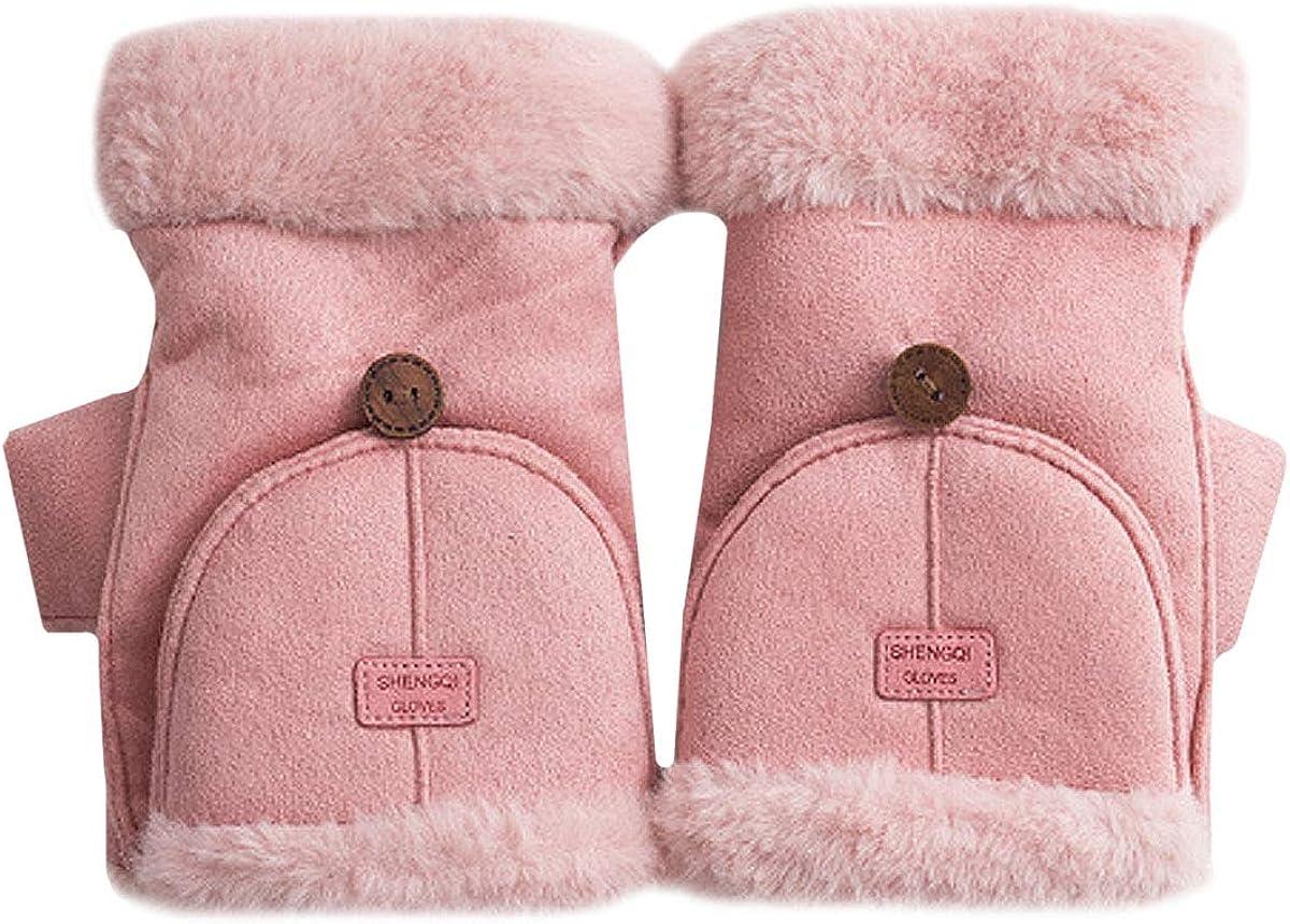 Monique Women Solid Color Suede Fingerless Gloves Winter Warm Fleece-lined Mittens