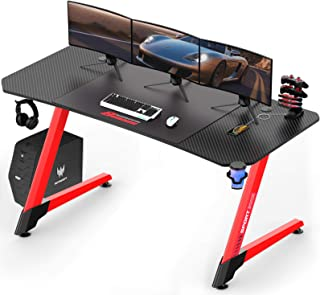 LEMBERI 63 inch Gaming Desk, Z-Shaped Computer Desk with Free Large Mouse Pad, Professional Game Work Station, PC Gamer Ta...