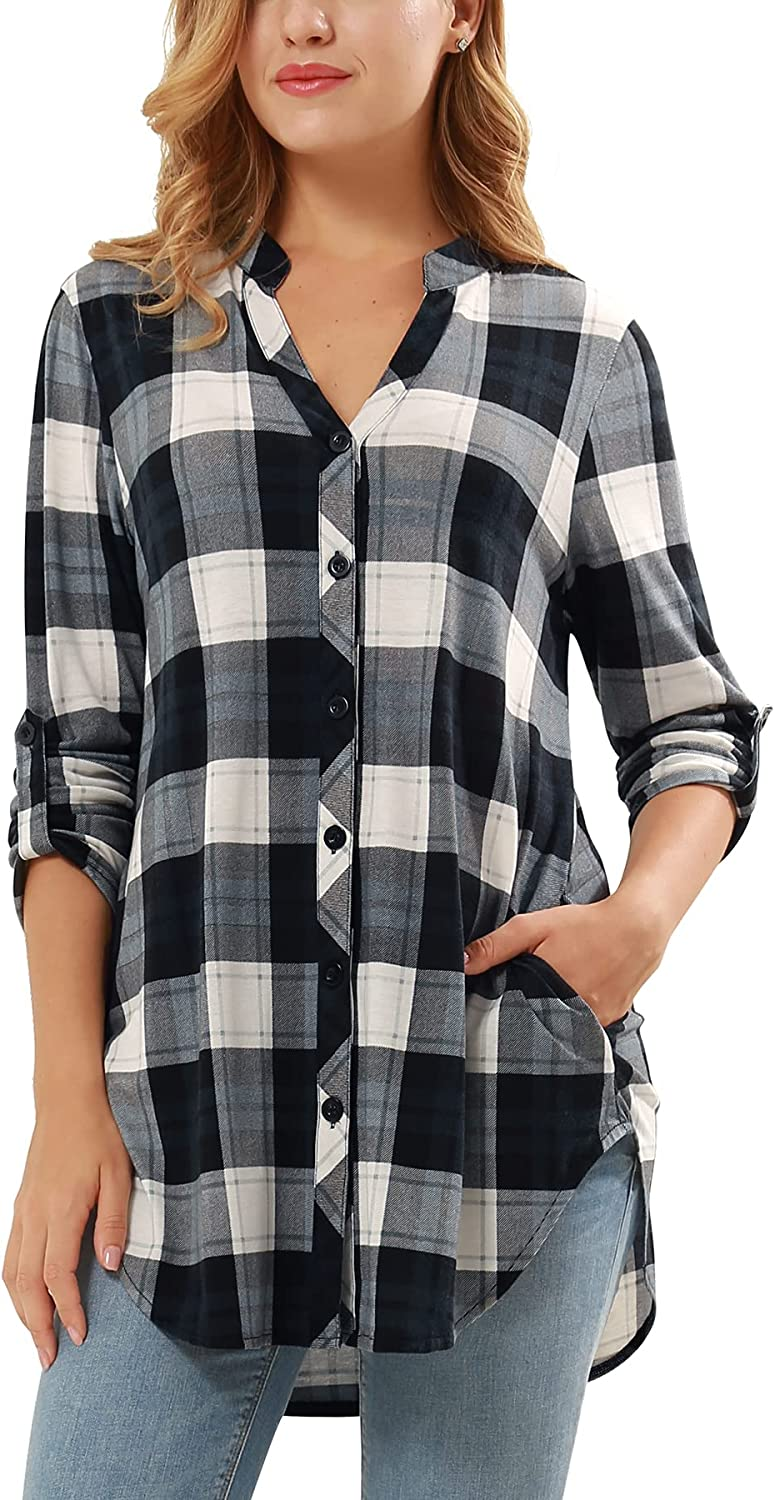 DJT Women's Soft Knitted Roll Up 3/4 Sleeve Pockets Casual Button Down Plaid Shirts
