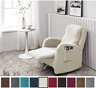 Argstar Jacquard Recliner Chair Protector, Stylish Furniture Slipcovers for Couch and Sofa for Living Room, Cream White