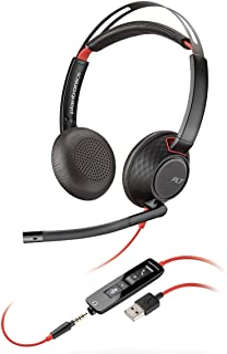 Plantronics - Blackwire C5220 - Kabelgebundenes Dual-Ear-(Stereo)-Headset mit Bügelmikrofon - USB-A, 3,5 mm zum Anschluss an PC, Mac, Tablet und/oder Mobiltelefon