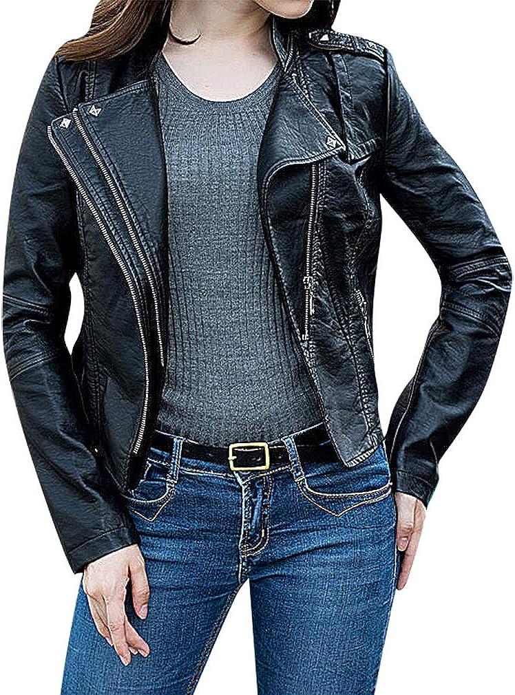 US&R Women Black Zip Up Turndown Collar Pocketed Faux Leather Moto Jacket