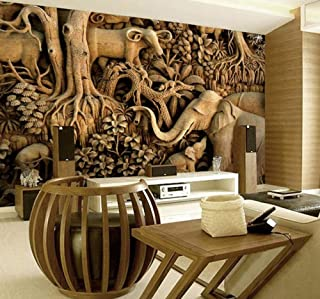 Mural 3D Photo Wallpaper Thailand Style Elephant Wallpaper Dance Yoga Theme Restaurant Hotel 3D Retro Living Room Bedroom Large Mural-120X100Cm
