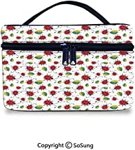 Ladybugs Large-Capacity Cosmetic Bag Cute Hand Drawn Doodle Cartoon Leafs Bugs Abstract Ornamental Nature Illustration DecorativeCute Cosmetic bag,9.8x7.1x5.9inch,Multicolor