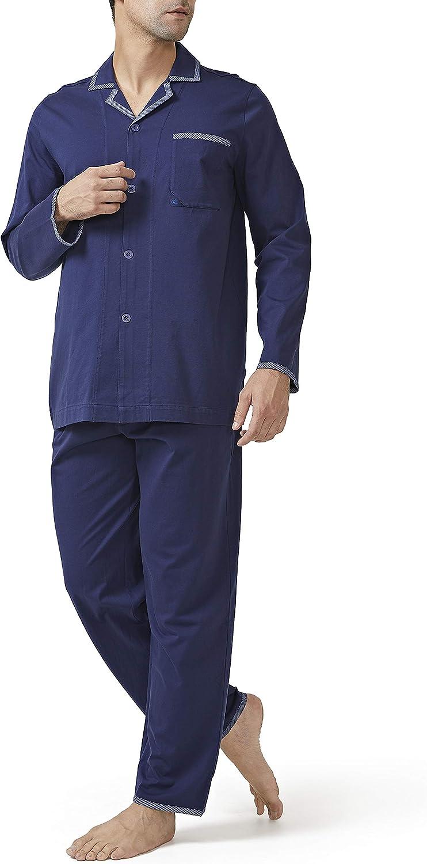 DAVID ARCHY Men's Pajama Set Mercerized Cotton Sleepwear Long Sleeve Top & Bottom Loungewear PJs