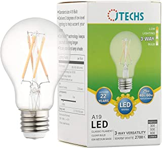 JTechs 1 Pack 3 Way Clear LED A19 Bulb 2700K, Warm White. Create The Accent Lighting You Want with This 25-40- 60 Watt Replacement! Flip The Switch from 300 to 500 to a Full 800 Lumens of Light.