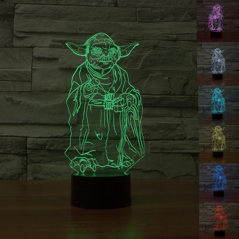 Star Wars Lampe 3D Visual LED Nachtlicht für Kinder Touch USB Tisch Lampe (Yoda)