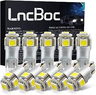 LncBoc T10 LED Bulbs 194 LED Light Bulb 6000K 168 LED Bulb W5W White Wedge Super Bright 5-SMD 5050 ChipSets for License Plate Car Dome Map Door Courtesy Lights (Pack of 10)