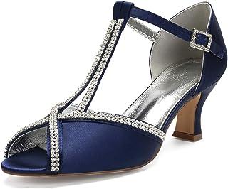 LIANYUNNEIYI Rhinestone Diamond Chain Lady Satin Evening Dress Shoes Peep Open Toe Bridal Wedding Prom Party Thick Lower Heels
