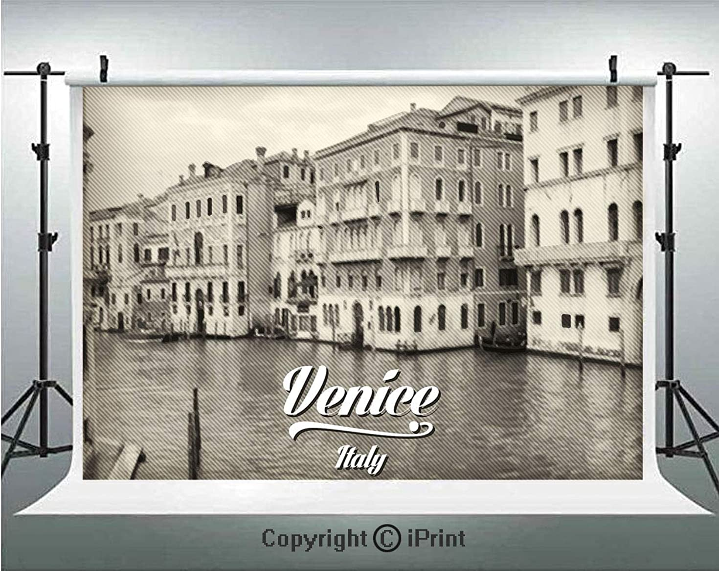 Venice Photography Backdrops Old Photo of Venice Italian City Vintage Filter Effect and Lettering History Memory,Birthday Party Background Customized Microfiber Photo Studio Props,10x6.5ft,Eggshell