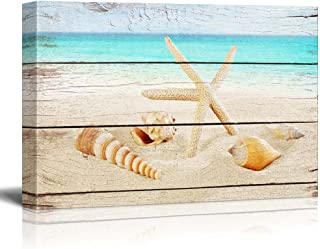 wall26 Canvas Prints Wall Art - Starfish and Seashells on The Beach with Vintage Wood Background | Modern Home Decor - 24