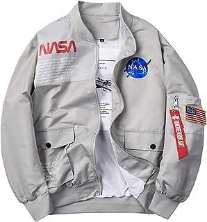 Mens Bomber Jacket, NASA MA-1 Military Flight Jacket Full Zip Coat Windbreaker