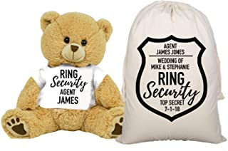 PaperGala Ring Security Teddy Bear and Gift Bag 8 or 16 inch Tan Plush Gift for Wedding Party Add Your Custom Name Wedding...