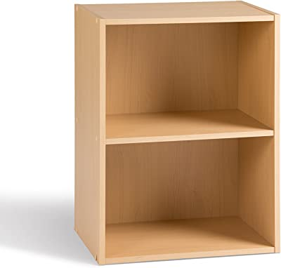 Alsapan Cube Meuble de Rangement 2 Casiers Rangement d'Appoint Salon Chevet Chambre Erable 40 x 29 x 54 cm