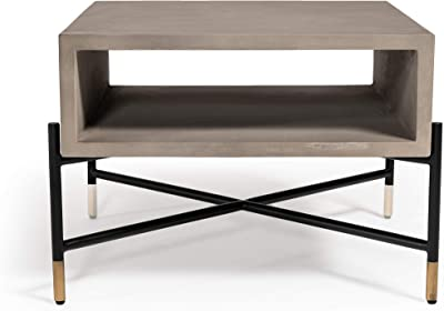 Limari Home Melis Collection Modern Style Concrete Living Room Coffee Table With Metal Base & Brass Leg Tips, Grey & Black