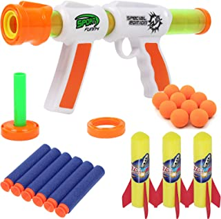 TeganPlay Toy Foam Blasters & Guns Atomic Power Popper Ball Gun Toy 3 in 1 Shooter for Kids Includes Foam Balls Rockets an...