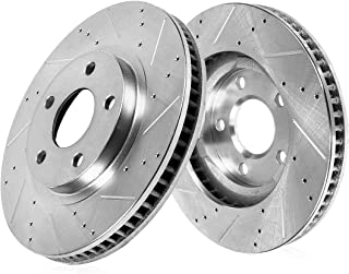 Callahan CDS04071 FRONT 345mm Drilled & Slotted 5 Lug [2] Rotors [ for 2004 2005 2006 2007 2008 2009 Audi S4 B7 B8 ]