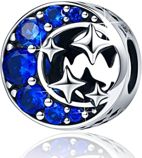 XingYue Jewelry Sterling Silver Starry Sky Moon and Star Bead Charm,I Love You to The Moon and Back Charm for Bracelets