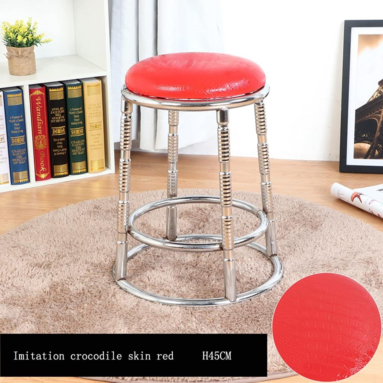 Lh yu Modern Kitchen stools with Metal Legs High Stool Bar Stools PU Seat Breakfast Bar,Removable Cushion,Stainless Steel Four Corner Stool feetRing Height More Comfortable