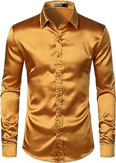 Men's Luxury Shiny Silk Like Satin Button Up Dress Shirts