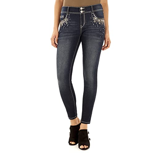 af623c008cb58 WallFlower Women's Juniors Luscious Curvy Embellished Pocket Skinny Jeans