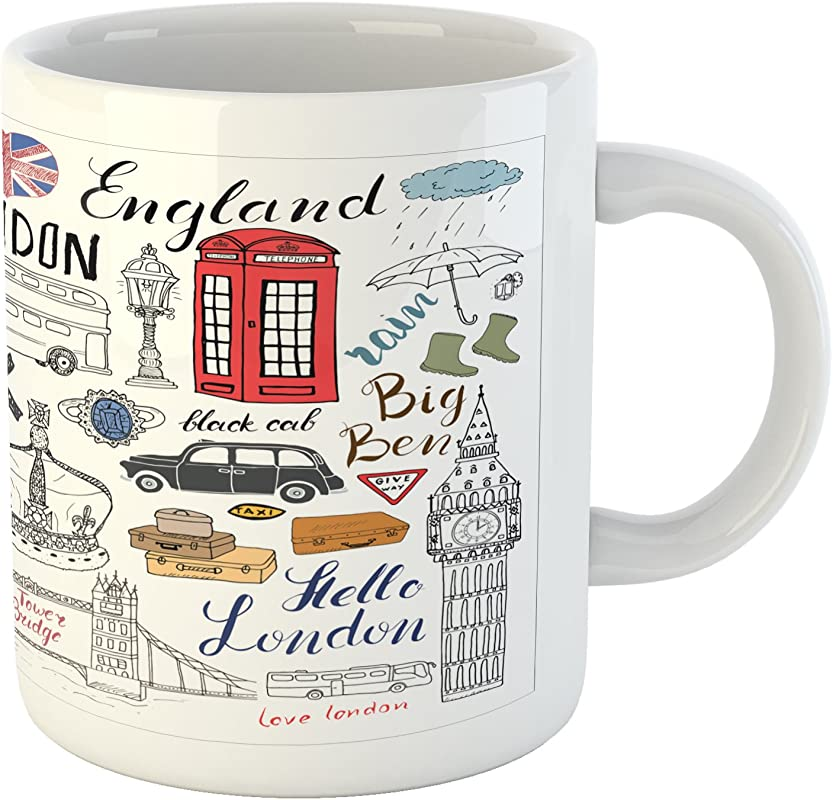 Ambesonne Doodle Mug I Love London Double Decker Bus Telephone Booth Cab Crown Of United Kingdom Big Ben Ceramic Coffee Mug Cup For Water Tea Drinks 11 Oz Red White