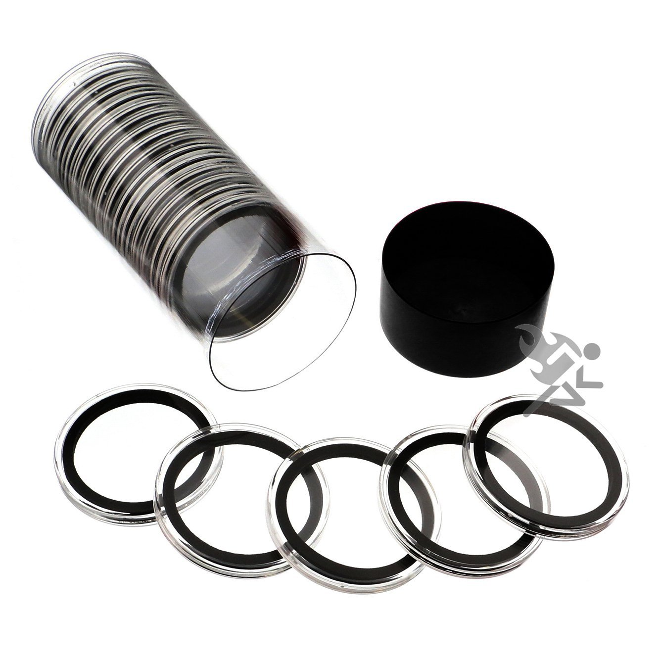 Black Lid Capsule Tube /& 15 Air-Tite X39mm Black Ring Coin Holders