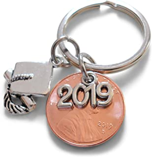 2019 Charm Layered Over 2019 Penny Keychain, with Cap and Diploma Charm, Graduate Gift