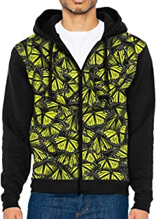 HEHE TAN Men's Pullover Hood Yellow Butterfly Patterns Zip Hoodies Hooded Popular Jackets Coats